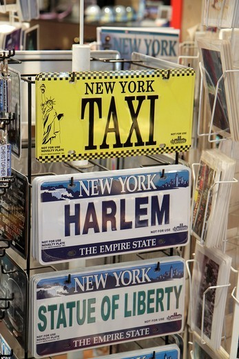 New York, New York City, NYC, Manhattan, Midtown, 34th Street, Broadway, Herald Square, I Love New York, gift store, souvenirs, custom license plate, vehicle tag, display, business, interior, : Stock Photo