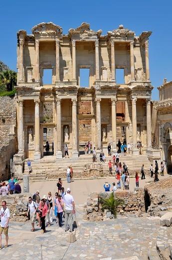 Celsus Library Ancient Ephesus Turkey Kusadasi Aegean Mediterranean : Stock Photo