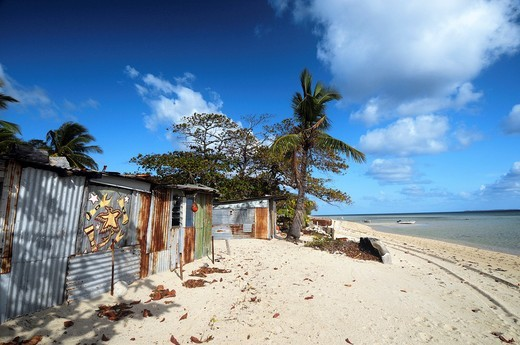 Beach shacks on Masig Island aka Yorke Island, Torres Strait, Queensland, Australia  No PR : Stock Photo
