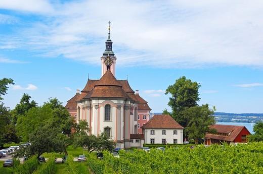 Stock Photo: 1566-844830 Birnau, Monastery Birnau, Birnau sanctuary, Marian pilgrimage church, Baden-Wuerttemberg, Germany, Lake constance, Bodensee, Europe.