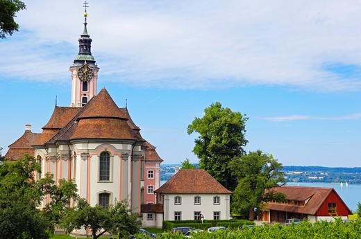 Birnau, Monastery Birnau, Birnau sanctuary, Marian pilgrimage church, Baden-Wuerttemberg, Germany, Lake constance, Bodensee, Europe. : Stock Photo