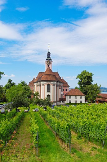 Stock Photo: 1566-844835 Birnau, Monastery Birnau, Birnau sanctuary, Marian pilgrimage church, Baden-Wuerttemberg, Germany, Lake constance, Bodensee, Europe.