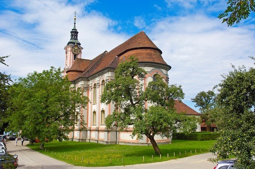 Stock Photo: 1566-844836 Birnau, Monastery Birnau, Birnau sanctuary, Marian pilgrimage church, Baden-Wuerttemberg, Germany, Lake constance, Bodensee, Europe.