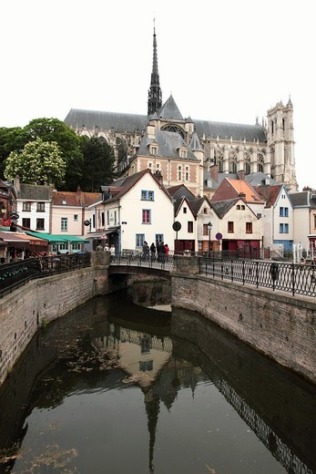 Stock Photo: 1566-845607 View of Cathedral Notre Dame from St-Leu Quarter, Amiens, Picardy, France