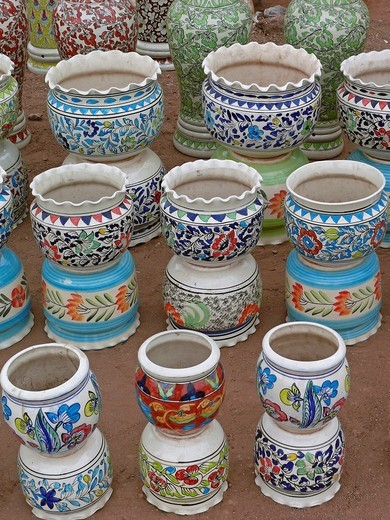 Stack of ceramic pots, India : Stock Photo