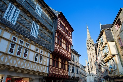 Street and Saint-Corentin Cathedral of Quimper XIII to XV century, in Ghotic style  Finistere department, Brittany region, France : Stock Photo