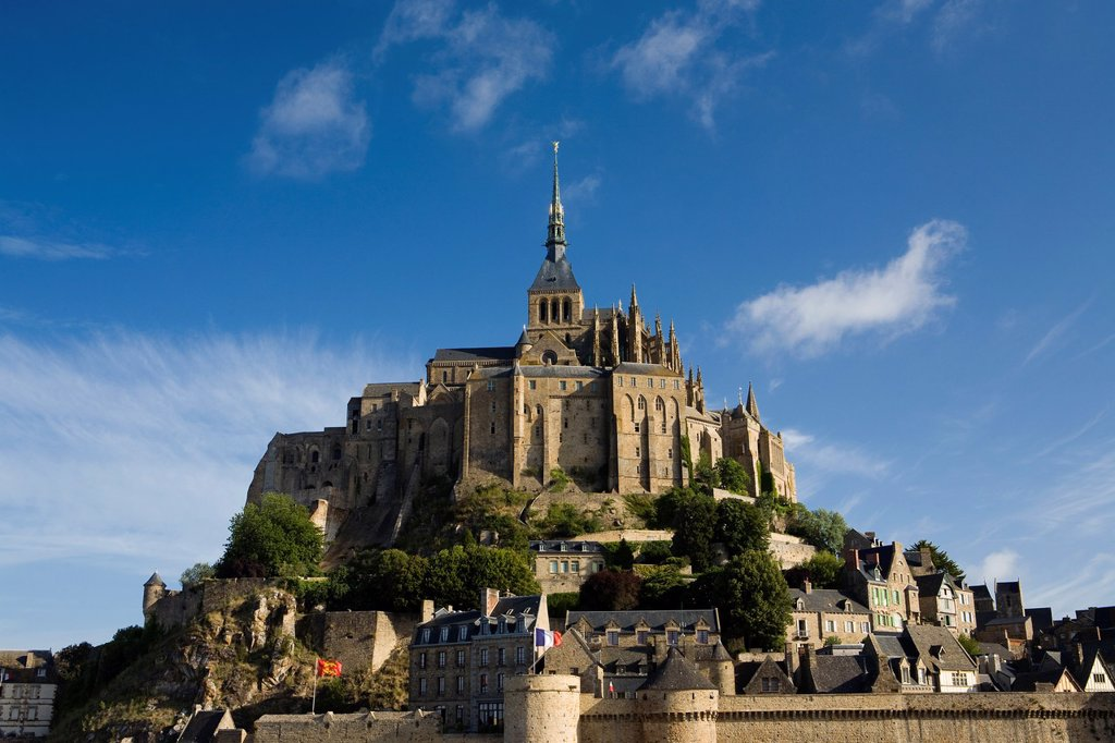 Stock Photo: 1566-847553 Overview of Mont-Saint Michel abbey, listed as World Heritage by UNESCO, Manche department, Lower Normandie region, France