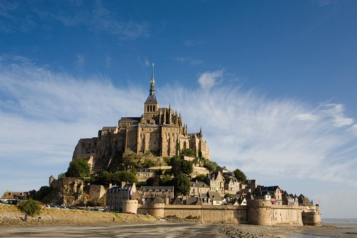 Overview of Mont-Saint Michel abbey, listed as World Heritage by UNESCO, Manche department, Lower Normandie region, France : Stock Photo