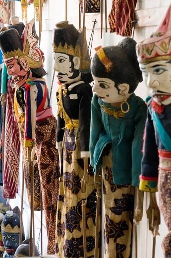 Stock Photo: 1566-847926 Puppets in craft shop, Jalan Gajah Mada denpasar bali indonesia