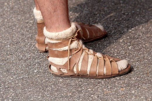 Stock Photo: 1566-848131 Italy, Shoes or Sandal Which Was Worn by Roman Legionary Soldiers and Auxiliaries