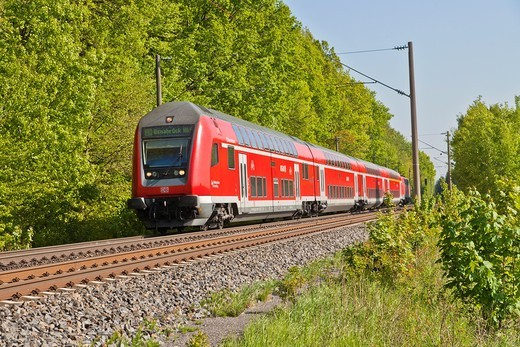 Approaching regional train of the Deutsche Bahn, Germany, Europe : Stock Photo