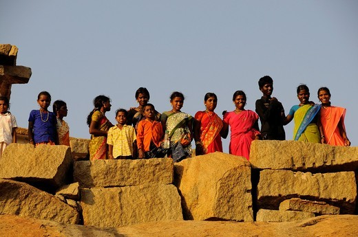 India, Karnataka, Hampi, on the World heritage list of UNESCO, former capital of Vijayanagara kingdom, temple atop of Mantaga hill : Stock Photo