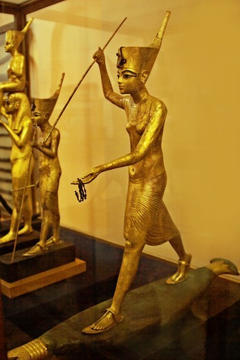 A Golden Statue of king Tutankhamun, The King as Harpooner, New Kingdom, Egyptian museum : Stock Photo