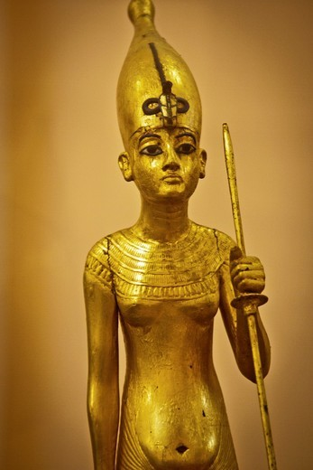 Stock Photo: 1566-848523 The King as Harpooner, A Golden Statue of king Tutankhamon, New Kingdom, Egyptian museum