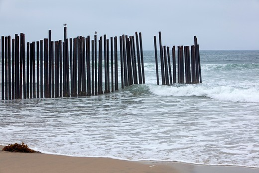 San Ysidro, California - A fence at California´s Border Field State Park separates the United States and Mexico on a beach at the Pacific Ocean : Stock Photo