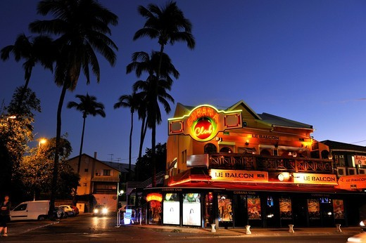 bar-discotheque in Saint-gilles-les-bains Reunion island, overseas departement of France, Indian Ocean : Stock Photo