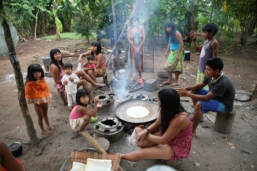 Xingu indians in the Amazone, Brazil : Stock Photo