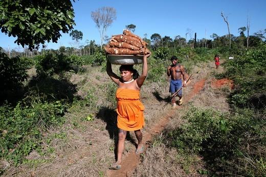Xingu indians in the Amazone, Brazil : Stock Photo