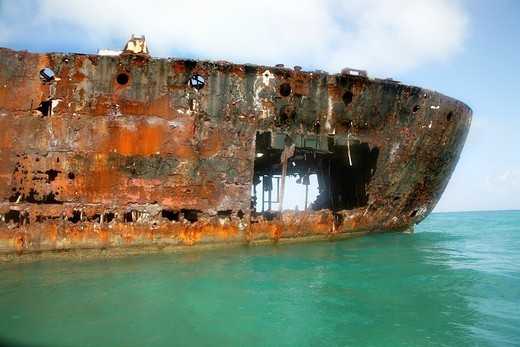 corroded vessel at the Colombian shore : Stock Photo