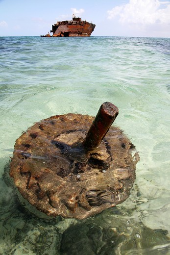 Stock Photo: 1566-850724 corroded vessel at the Colombian shore