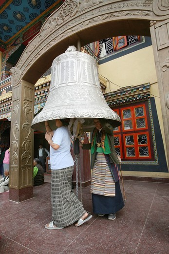 Praying at a Tibetan Monastry in Kathmandu, Nepal : Stock Photo