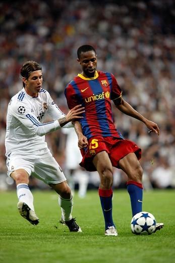 Sergio Ramos marking Keita, UEFA Champions League Semifinals game between Real Madrid and FC Barcelona, Bernabeu Stadiumn, Madrid, Spain : Stock Photo
