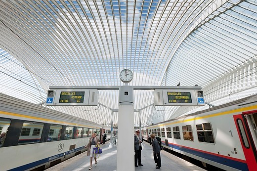 Stock Photo: 1566-852751 Platform at new Liège-Guillemins modern railway station designed by architect Santiago Calatrava in Liege Belgium