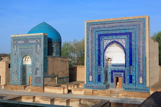 Stock Photo: 1566-852921 Shakh i Zinda mausoleums, Samarkand, Uzbekistan