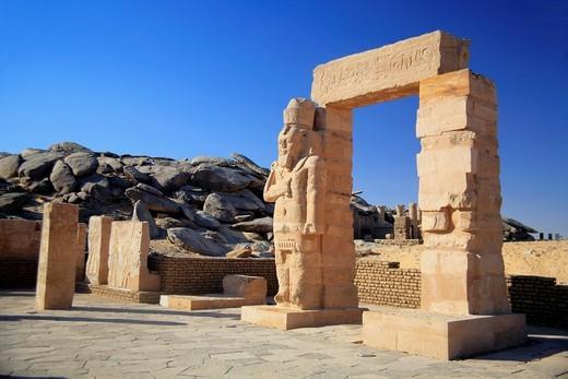 Stock Photo: 1566-852966 Ramses II Temple of Gerf Hussein c  1260 BC, New Kalabsha island near Aswan High dam, Egypt