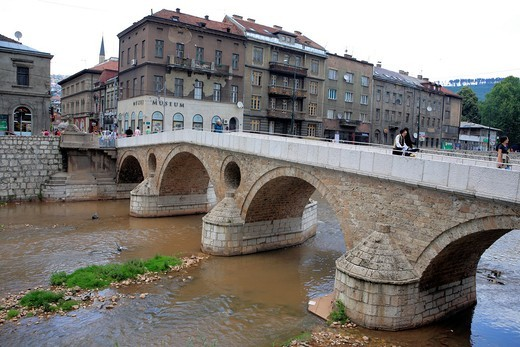 Stock Photo: 1566-853032 Latin Bridge, the site of the assassination of Franz Ferdinand, Sarajevo, Bosnia and Herzegovina
