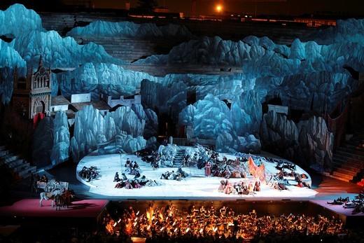 Carmen by Bizet, performance at Arena, Verona, Italy : Stock Photo
