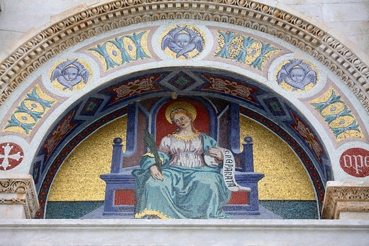 frescoes on the facade of Santa Maria Assunta cathedral, Pisa, Italy : Stock Photo