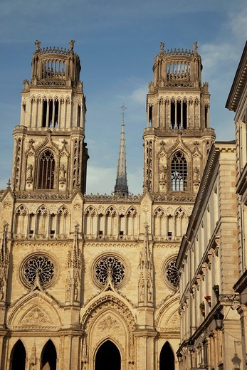 Main Facade of Sante Croix Cathedral in Orleans, France : Stock Photo