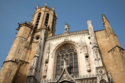 Main Facade of St Sauveur Cathedral, Aix-en-Provence, France : Stock Photo