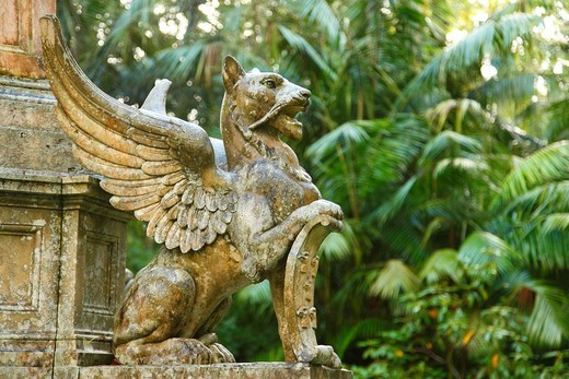 Detail of the monument to the creators of Parque Terra Nostra  Furnas, Sao Miguel island, Azores, Portugal : Stock Photo