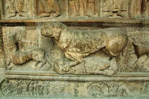 Stock Photo: 1566-853655 Detail of main façade, Santa Maria de Ripoll Monastery, Girona, Catalonia, Spain