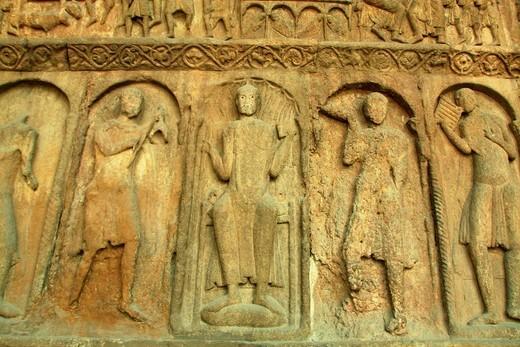 Detail of main façade, Santa Maria de Ripoll Monastery, Girona, Catalonia, Spain : Stock Photo