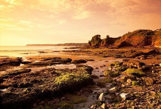 England Devon Goodrington Sands Beach at dawn : Stock Photo