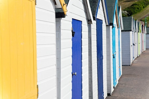 England Devon Goodrington Sands North Row of beach huts : Stock Photo