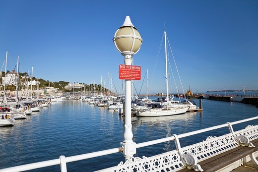 England Devon Torquay Princess Pier with Lamp and No Fishing notice : Stock Photo
