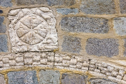 Stock Photo: 1566-854204 Chi-Rho on the cover of the Romanesque church of the Nativity of Durro - Vall de Boi - Pyrenees - Lleida Province - Catalonia - Spain