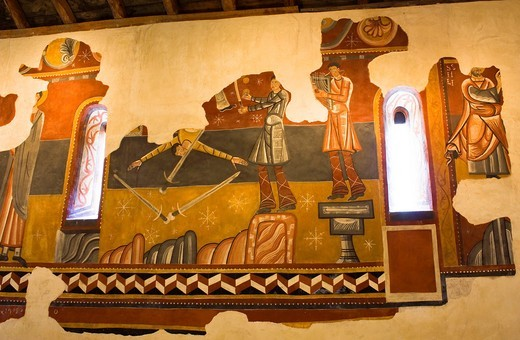 Romanesque murals in the church of Sant Joan de Boi - Representation of minstrels - Vall de Boi - Pyrenees - Lleida Province - Catalonia - Cataluña - Catalunya - Spain : Stock Photo