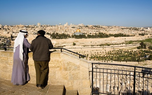 Stock Photo: 1566-854422 View of the Jewish cemetery and Old Jerusalem from Mount of Olives, Jerusalem, Israel.