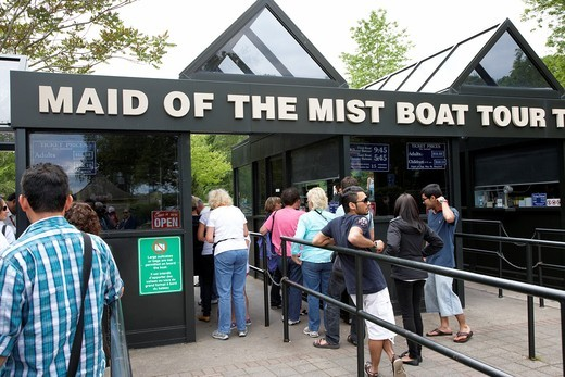 Stock Photo: 1566-854940 entrance and ticket kiosk for maid of the mist boat tour niagara falls ontario canada