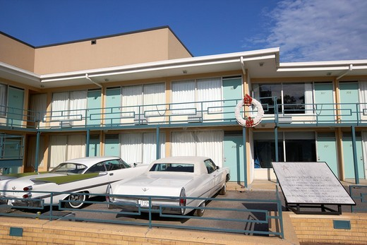 lorraine hotel site of the murder of martin luther king now the national civil rights museum memphis tennessee usa : Stock Photo