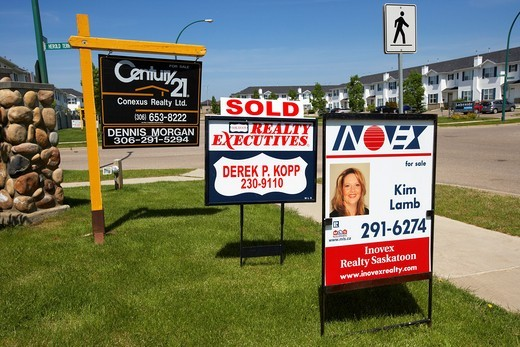 Stock Photo: 1566-855130 various for real estate agent signs in Saskatoon Saskatchewan Canada
