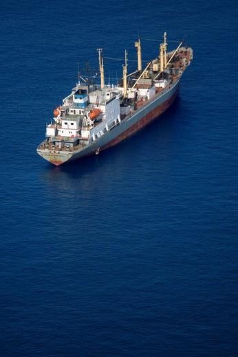 Stock Photo: 1566-855297 Cargo ship near Canary Islands, Spain