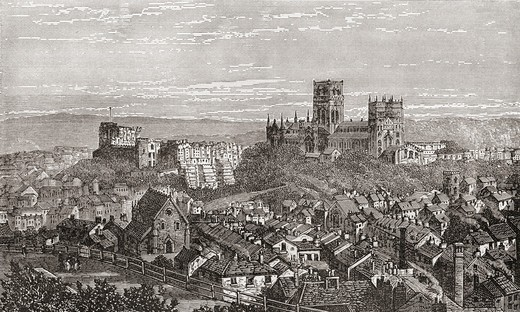 Stock Photo: 1566-855357 Durham cathedral and castle, England in the late 19th century  From Our Own Country published 1898