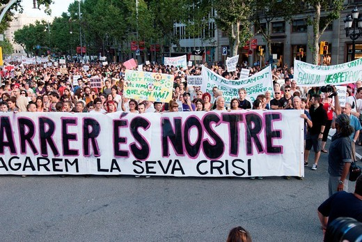 Indignats outraged demonstration against budget cuts, 20-June-2011, Barcelona, Spain : Stock Photo