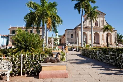 Cuba, Trinidad  Plaza Mayor, Holy Trinity Church in Background, late 19th  century : Stock Photo